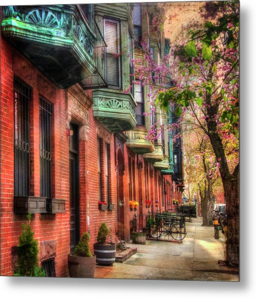 Bay Village Brownstones And Cherry Blossoms - Boston Metal Print