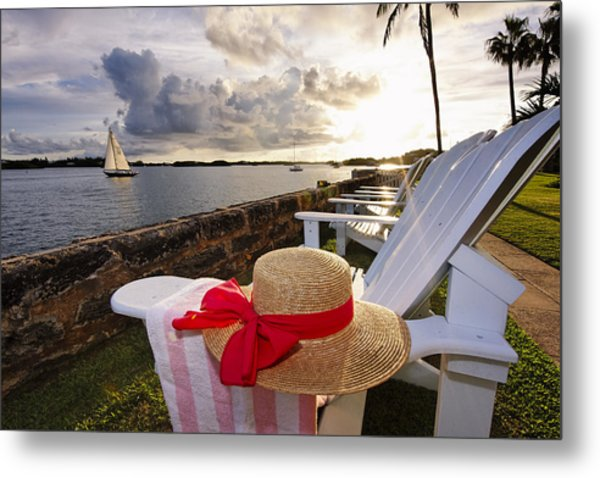 Bay With A Straw Hat And Adirondack Chairs Hamilton Bermuda Metal Print by George Oze