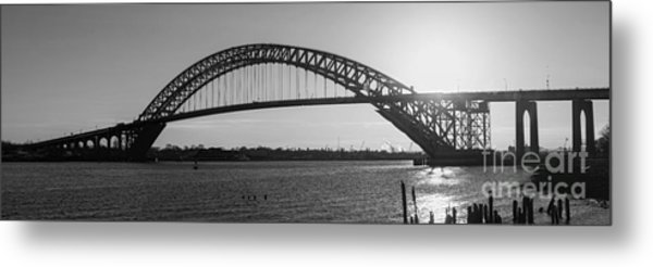 Bayonne Bridge Panorama Bw Metal Print