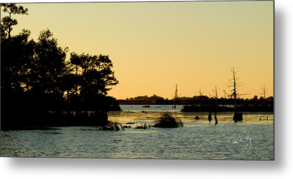 Bayou Sunset Venice Louisiana Metal Print
