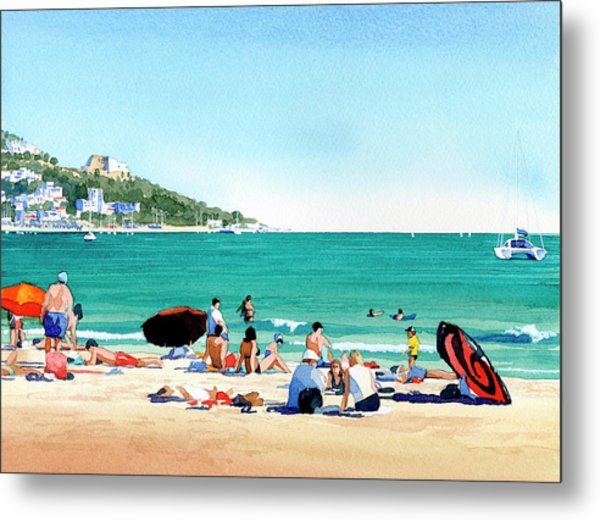 Beach At Roses, Spain Metal Print