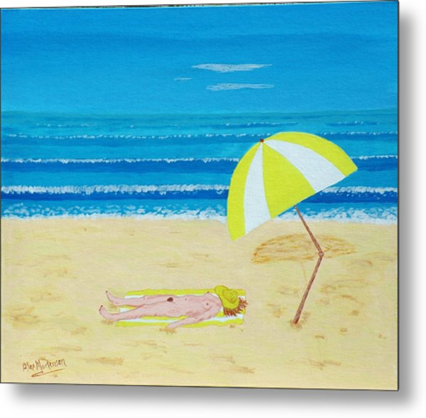 Beach Babe With All She Needs Metal Print by Alex Mortensen