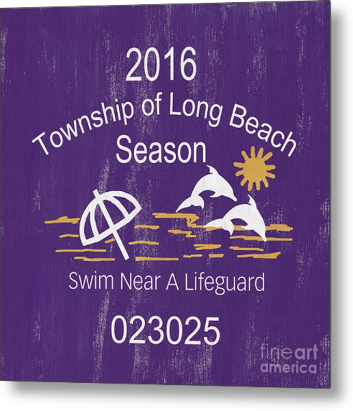 Beach Badge Long Beach Metal Print