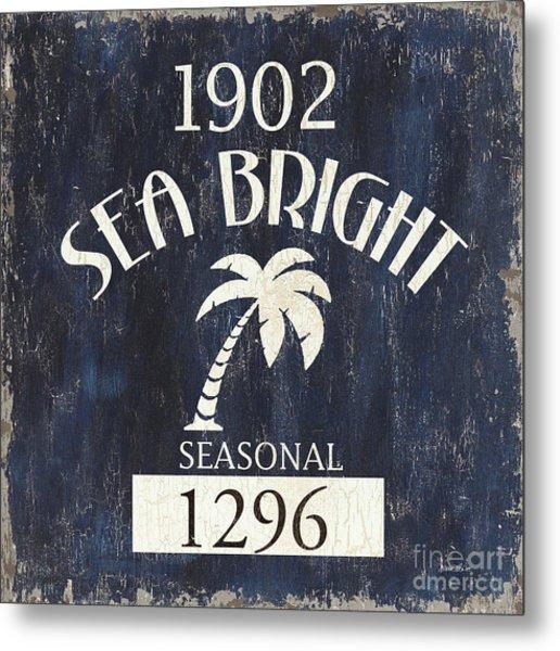 Beach Badge Sea Bright Metal Print