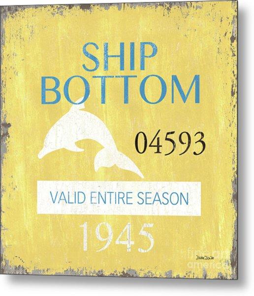 Beach Badge Ship Bottom Metal Print