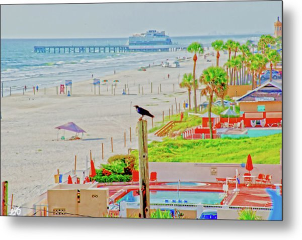 Beach Bird On A Pole Metal Print