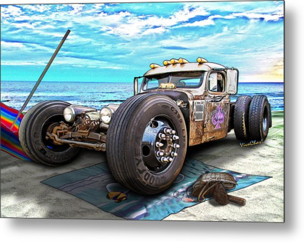 Beach Blanket Rat Rod Metal Print