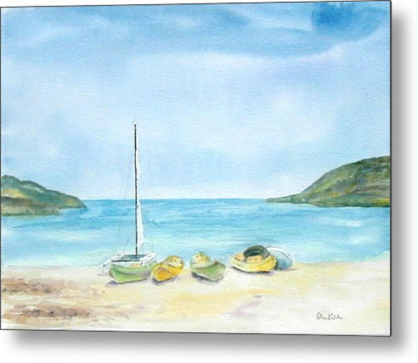 Beach Boats Metal Print