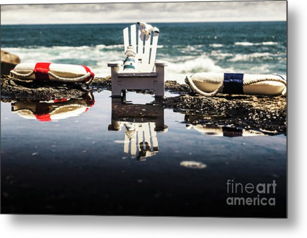 Beach Chairs And Rock Pools Metal Print