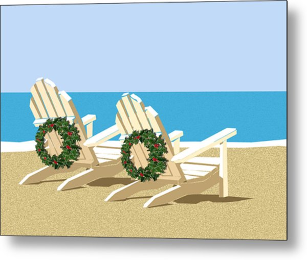 Beach Chairs With Wreaths Metal Print