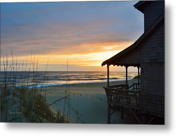 Beach Cottage Sunrise  Metal Print