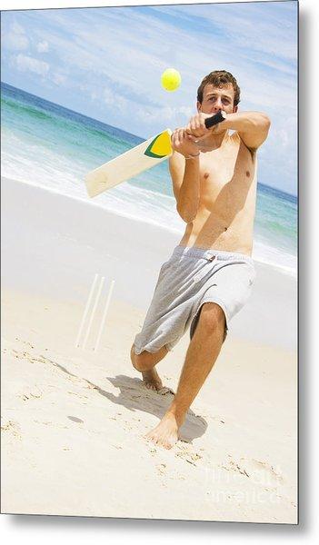 Beach Cricket Slog Metal Print