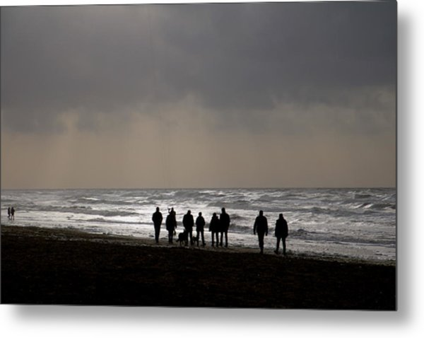 Beach Day Silhouette Metal Print