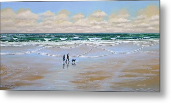 Beach Dog Walk Metal Print