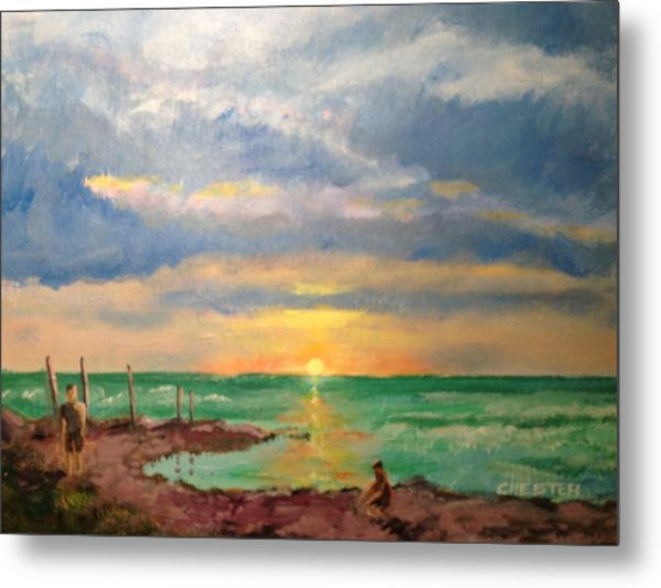 Beach End Of Day Metal Print