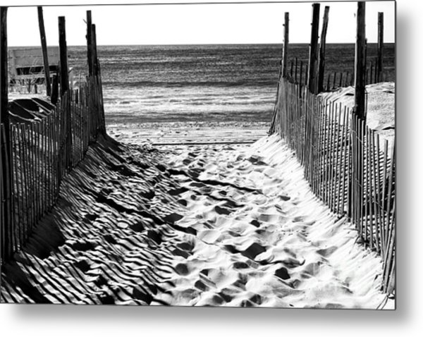 Beach Entry Black And White Long Beach Island Metal Print