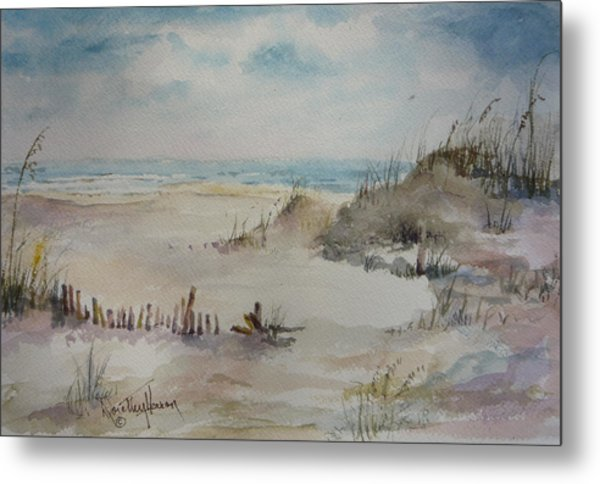 Beach Fence Metal Print by Dorothy Herron