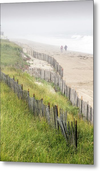 Beach Fences In A Storm Metal Print
