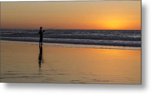 Beach Fishing At Sunset Metal Print