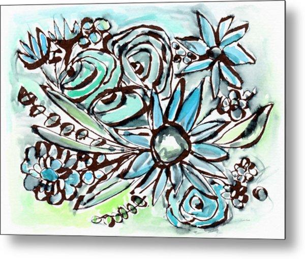 Beach Glass Flowers 1- Art By Linda Woods Metal Print