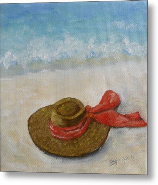 Beach Hat In The Sand Metal Print by Barbara Harper