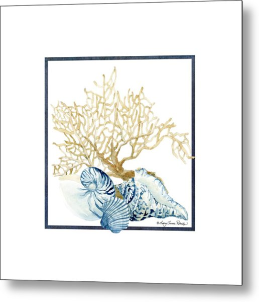 Beach House Nautilus Scallop N Conch With Tan Fan Coral Metal Print
