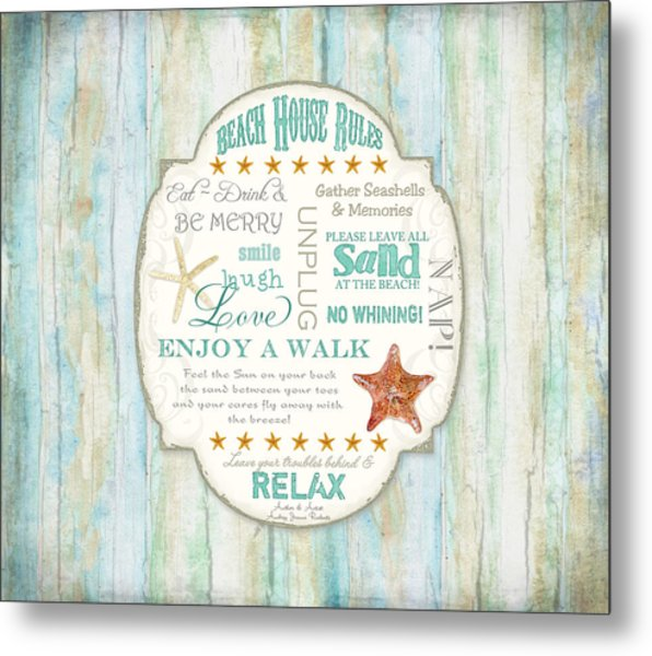 Beach House Rules - Refreshing Shore Typography Metal Print