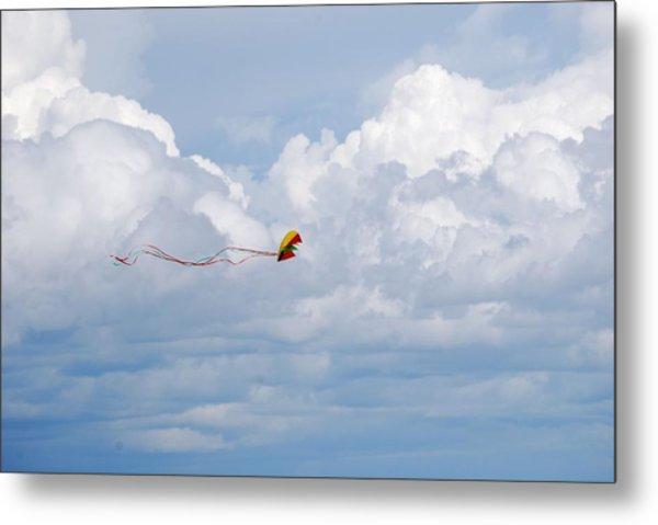 Beach Kite Metal Print by Peter  McIntosh