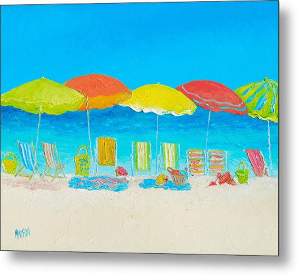 Beach Painting - Beach Chairs Metal Print