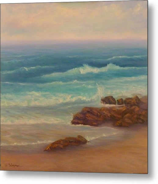 Beach Painting Beach Rocks  Metal Print