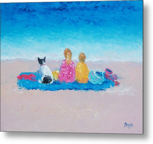 Beach Painting Sunday At The Beach Metal Print