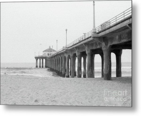 Beach Pier Film Frame Metal Print