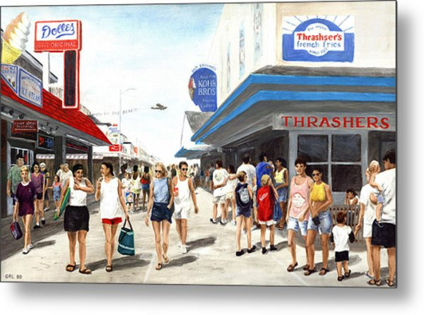 Beach/shore I Boardwalk Ocean City Md - Original Fine Art Painting Metal Print