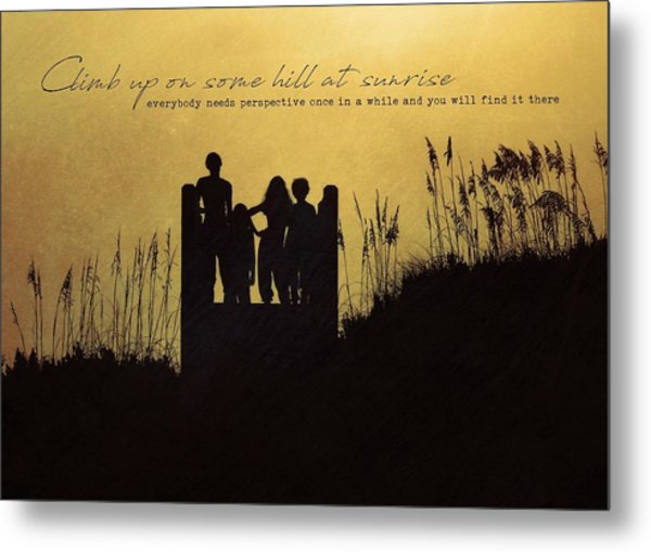 Beach Silhouette Quote Metal Print by JAMART Photography