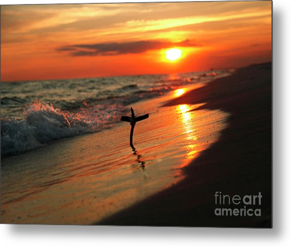 Beach Sunset And Cross Metal Print