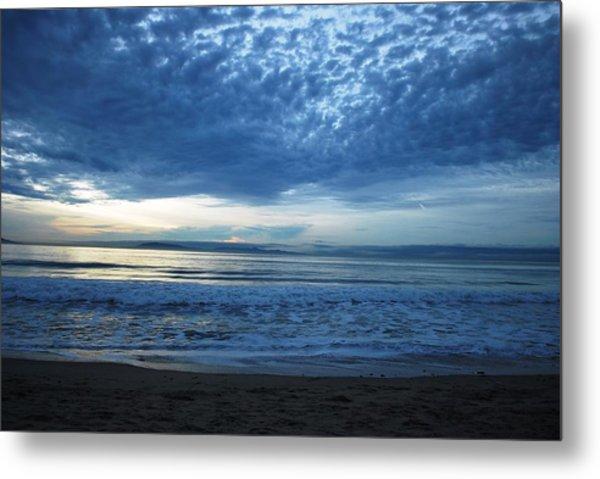 Beach Sunset - Blue Clouds Metal Print