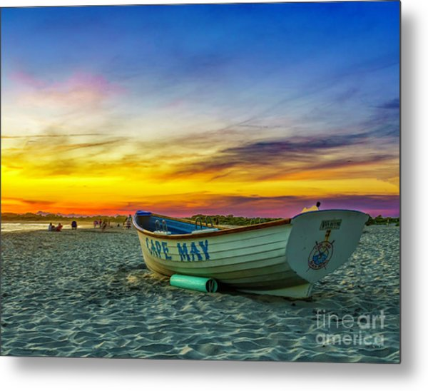 Beach Sunset In Cape May Metal Print