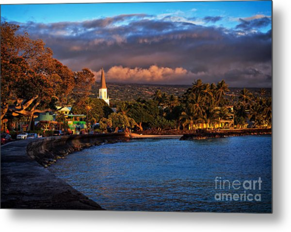 Beach Town Of Kailua-kona On The Big Island Of Hawaii Metal Print
