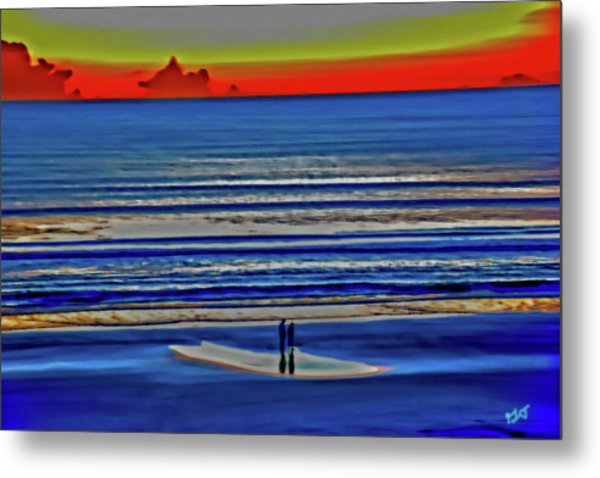 Beach Walking At Sunrise Metal Print