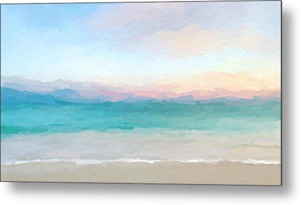 Beach Watercolor Sunrise Metal Print