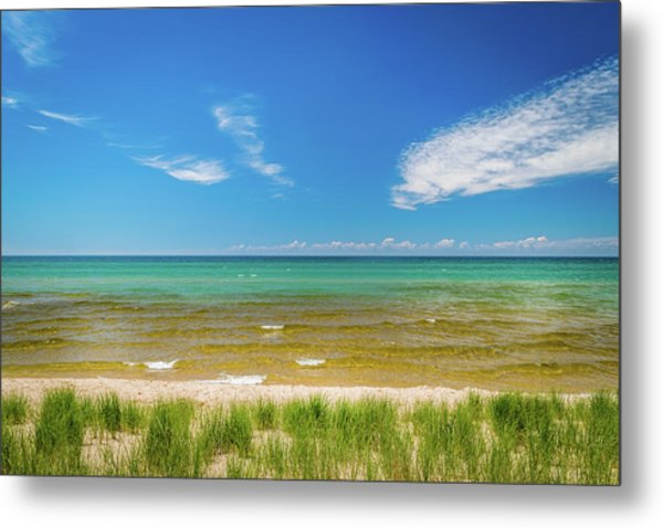 Beach With Blue Skies And Cloud Metal Print