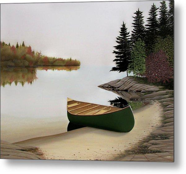 Beached Canoe In Muskoka Metal Print