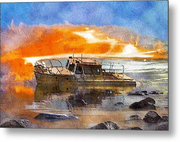 Beached Wreck Metal Print