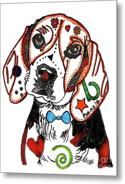Beagle Drawing Metal Print by Christine Perry