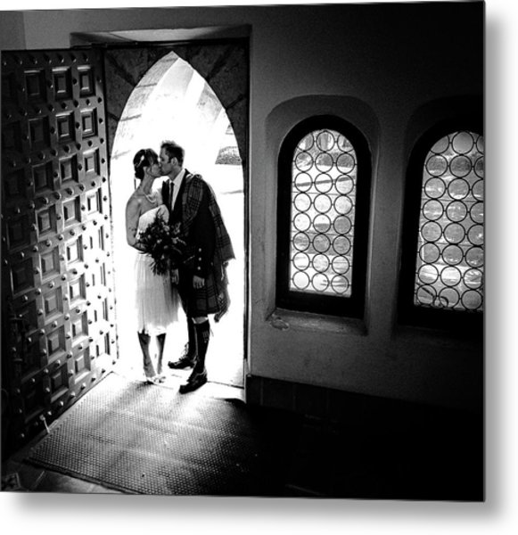 Beaming Newlyweds Metal Print