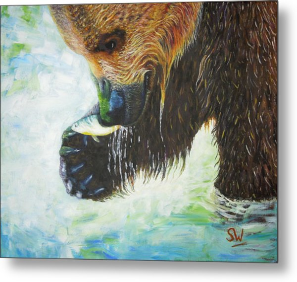 Bear Fishing Metal Print