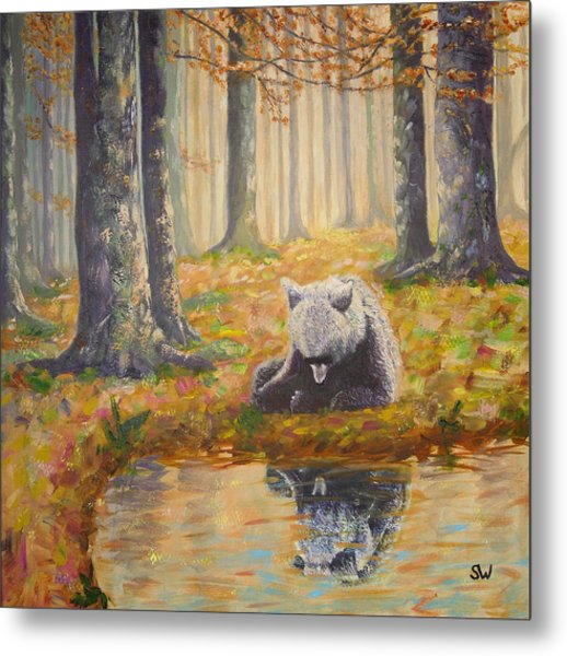 Bear Reflecting Metal Print