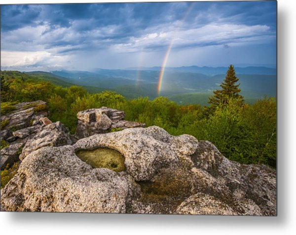 Bear Rocks Rainbow Metal Print