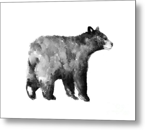 Bear Watercolor Drawing Poster Metal Print