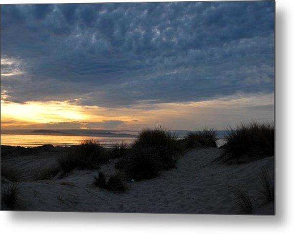 Beautiful Beach San Dunes Sunset And Clouds Metal Print